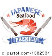 Clipart Of A Shrimp With Knives Stars Text And A Blue Banner Royalty Free Vector Illustration by Vector Tradition SM