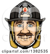 Clipart Of A Cartoon Male Caucasian Fire Fighter Face Royalty Free Vector Illustration