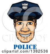 Clipart Of A Cartoon Male Caucasian Police Officer Face Over Text Royalty Free Vector Illustration by Vector Tradition SM