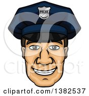 Clipart Of A Cartoon Male Caucasian Police Officer Face Royalty Free Vector Illustration