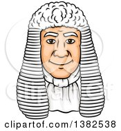 Clipart Of A Cartoon Male Caucasian Judge Face With A Wig Royalty Free Vector Illustration