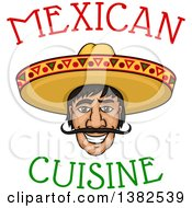 Clipart Of A Happy Smiling Mexican Mans Face With A Sombrero Hat And Text Royalty Free Vector Illustration
