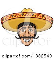 Clipart Of A Happy Smiling Mexican Mans Face With A Sombrero Hat Royalty Free Vector Illustration by Vector Tradition SM
