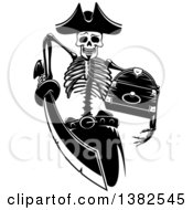 Clipart Of A Black And White Pirate Skeleton Stabbing With A Sword And Holding A Treasure Chest Royalty Free Vector Illustration