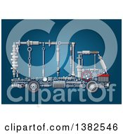 Clipart Of A Big Rig Lorry Truck Made Of Mechanical Parts Over Blue Royalty Free Vector Illustration
