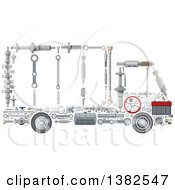 Clipart Of A Big Rig Lorry Truck Made Of Mechanical Parts Royalty Free Vector Illustration