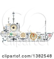 Clipart Of A Ship Made Of Mechanical Parts Royalty Free Vector Illustration
