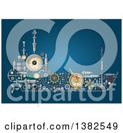 Clipart Of A Ship Made Of Mechanical Parts On Blue Royalty Free Vector Illustration by Vector Tradition SM