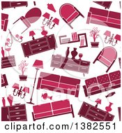 Clipart Of A Seamless Background Pattern Of Red And Pink Retro Furniture Royalty Free Vector Illustration