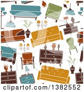 Clipart Of A Seamless Background Pattern Of Retro Furniture Royalty Free Vector Illustration by Vector Tradition SM