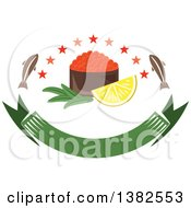 Clipart Of A Bowl Of Red Caviar With Fish Stars And Lemon Over A Blank Banner Royalty Free Vector Illustration