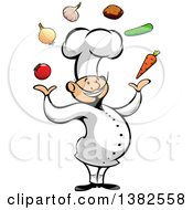 Clipart Of A Cartoon Happy Asian Male Chef Juggling Produce Royalty Free Vector Illustration