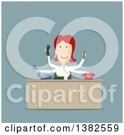 Poster, Art Print Of Flat Design Busy Red Haired White Business Woman Managing Many Telephones In An Office On Blue