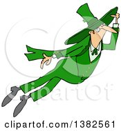 Clipart Of A St Patricks Day Leprechaun Flying Royalty Free Vector Illustration by Dennis Cox