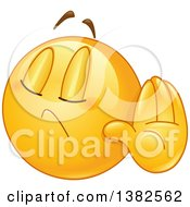 Clipart Of A Cartoon Yellow Emoji Smiley Face Emoticon Denying Something Or Gesturing Talk To The Hand Royalty Free Vector Illustration