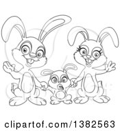 Black And White Cartoon Happy Bunny Rabbit Family Waving