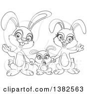 Clipart Of A Black And White Cartoon Happy Bunny Rabbit Family Waving Royalty Free Vector Illustration