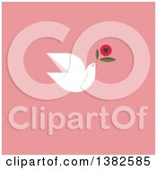 Clipart Of A Flat Design White Dove Flying With A Flower For International Womens Day March 8th Over Pink Royalty Free Vector Illustration