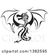 Clipart Of A Black And White Dragon Tattoo Design Royalty Free Vector Illustration by dero