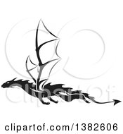 Clipart Of A Black And White Dragon Tattoo Design Royalty Free Vector Illustration