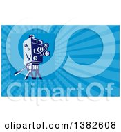 Clipart Of A Retro Movie Camera And Blue Rays Background Or Business Card Design Royalty Free Illustration