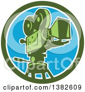 Retro Film Movie Camera In A Green White And Blue Circle