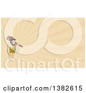 Clipart Of A Cartoon Neanderthal Caveman Plumber Holding A Monkey Wrench Over His Shoulder And Tan Rays Background Or Business Card Design Royalty Free Illustration by patrimonio