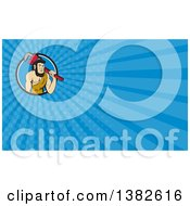 Clipart Of A Cartoon Neanderthal Caveman Plumber Holding A Monkey Wrench Over His Shoulder And Blue Rays Background Or Business Card Design Royalty Free Illustration by patrimonio