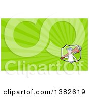 Clipart Of A Cartoon White Male Plumber Holding A Giant Monkey Wrench Over His Shoulder And Green Rays Background Or Business Card Design Royalty Free Illustration