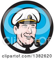 Clipart Of A Retro Cartoon Sea Captain Smoking A Pipe In A Blue And Black Circle Royalty Free Vector Illustration