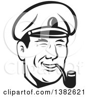 Clipart Of A Retro Black And White Sea Captain Smoking A Pipe Royalty Free Vector Illustration