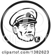 Clipart Of A Retro Black And White Sea Captain Smoking A Pipe In A Circle Royalty Free Vector Illustration by patrimonio