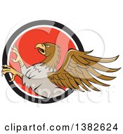 Clipart Of A Cartoon Rampant Hippogriff Mythical Creature In A Black White And Red Circle Royalty Free Vector Illustration