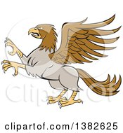 Clipart Of A Cartoon Rampant Hippogriff Mythical Creature Royalty Free Vector Illustration