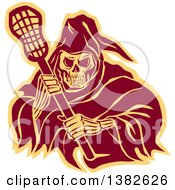 Clipart Of A Retro Grim Reaper Holding A Lacrosse Stick In Brown And Yellow Royalty Free Vector Illustration