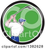 Clipart Of A Rear View Of A Cartoon White Male Golfer Swinging In A Black White And Green Circle Royalty Free Vector Illustration by patrimonio