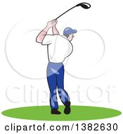 Clipart Of A Rear View Of A Cartoon White Male Golfer Swinging Royalty Free Vector Illustration by patrimonio
