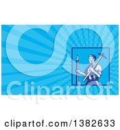 Retro Woodcut Draftsman Architect Holding A Large Pencil And T-Square And Blue Rays Background Or Business Card Design