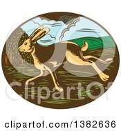 Clipart Of A Retro Woodcut Jackrabbit Running In An Oval Royalty Free Vector Illustration by patrimonio