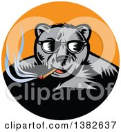 Clipart Of A Retro Woodcut Black Bear Wearing Shades And Smoking A Cigar In An Orange Circle Royalty Free Vector Illustration