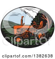 Retro Woodcut Tractor In An Oval Of Farm Land