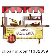 Clipart Of A Retro Taco Stand In Woodcut Style Royalty Free Vector Illustration