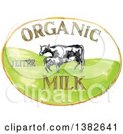 Sketched Oval Of Organic Milk Text And Cows