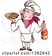 Clipart Of A Sketched Pig Chef Holding A Pie And Bottle Of Wine Royalty Free Vector Illustration