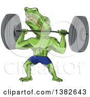 Clipart Of A Cartoon Sobek Egyptian Diety Crocodile Man Lifting A Barbell Royalty Free Vector Illustration