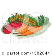 Clipart Of Sketched Fresh Corn Carrots And Tomatoes Royalty Free Vector Illustration
