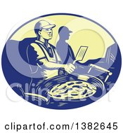 Clipart Of A Retro Chef Making Mexican Food In A Blue And Yellow Oval Royalty Free Vector Illustration