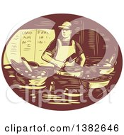 Clipart Of A Retro Chef Making Tacos In A Brown And Yellow Oval Royalty Free Vector Illustration by patrimonio