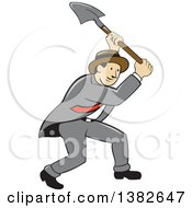 Clipart Of A Retro Cartoon Businessman Digging With A Shovel Royalty Free Vector Illustration