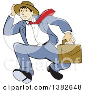 Clipart Of A Retro Cartoon Businessman Holding On To His Hat And Running Royalty Free Vector Illustration by patrimonio